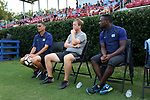 BROWNS SUMMIT, NC - SEPTEMBER 16: UNC head coach Carlos Somoano (left) with assistants Grant Porter (center) and Boyd Okwuonu (right). The University of North Carolina Tar Heels hosted the Duke University Blue Devils on September 16, 2017 at Macpherson Stadium in Browns Summit, NC in a Division I college soccer game. UNC won the game 2-1.