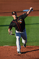 Quad Cities River Bandits pitcher Blaine Sims (16) delivers a pitch during a game against the Cedar Rapids Kernels on August 19, 2014 at Perfect Game Field at Veterans Memorial Stadium in Cedar Rapids, Iowa.  Cedar Rapids defeated Quad Cities 5-3.  (Mike Janes/Four Seam Images)