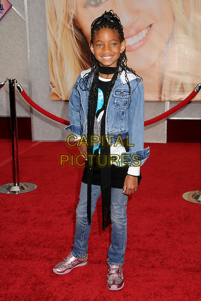 "WILLOW SMITH .""Hannah Montana: The Movie"" Los Angeles Premiere held at the El Capitan Theatre, Hollywood, CA, USA, .2nd April 2009. .full length black scarf sunglasses on head jeans pink trainers .CAP/ADM/BP.©Byron Purvis/Admedia/Capital PIctures"