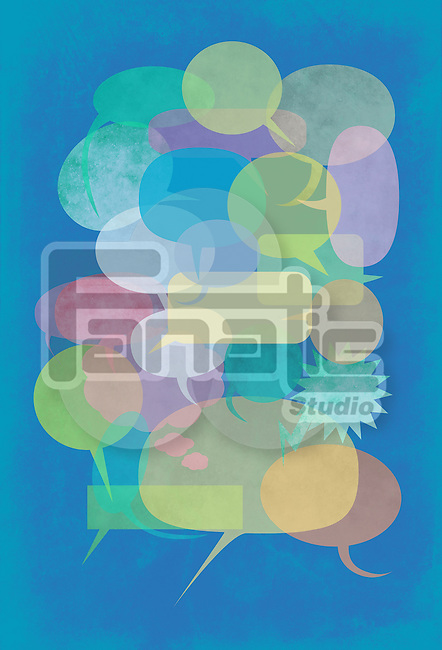 Illustration of chat bubbles against blue background