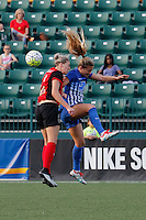 Rochester, NY - Friday May 27, 2016: Western New York Flash defender Alanna Kennedy (8) goes up for a header with Boston Breakers midfielder Kristie Mewis (19). The Western New York Flash defeated the Boston Breakers 4-0 during a regular season National Women's Soccer League (NWSL) match at Rochester Rhinos Stadium.