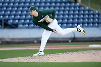 Starting pitcher Sam Benschoter (8) of the Michigan State Spartans delivers a pitch in a game against the Merrimack Warriors on Saturday, February 22, 2020, at Fluor Field at the West End in Greenville, South Carolina. Merrimack won, 7-5. (Tom Priddy/Four Seam Images)
