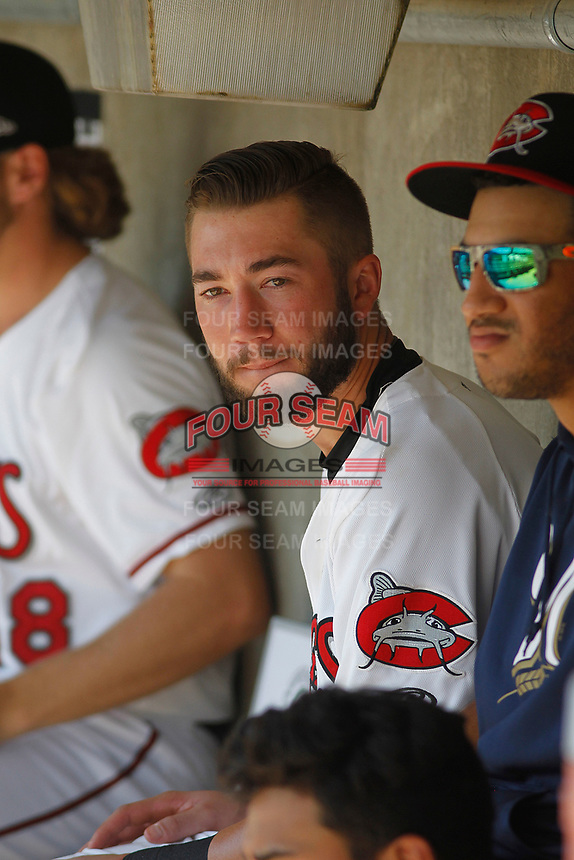 Carolina Mudcats infielder Lucas Erceg (34) in the dugout during a game against the Down East Wood Ducks on April 27, 2017 at Five County Stadium in Zebulon, North Carolina. Carolina defeated Down East 9-7. (Robert Gurganus/Four Seam Images)