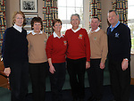 County Louth golf club Captain Declan O'Brien, Lady captain Geraldine Collier, Seapoint Captain Michael Lambe, lady captain Frances Stanley, laytown and Bettystown captain Joe O'Toole and lady captain Kathleen Moore pictured at the Captain's Drive in at County Louth golf club. Photo: Colin Bell/pressphotos.ie