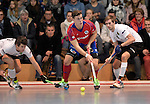 GER - Mannheim, Germany, November 28: During the 1. Bundesliga Sued Herren indoor hockey match between Mannheimer HC (red) and TG Frankenthal (white) on November 28, 2015 at Irma-Roechling-Halle in Mannheim, Germany. Final score 7-7 (HT 3-3). (Photo by Dirk Markgraf / www.265-images.com) *** Local caption *** (L-R) Sandro Reinhard #62 of TG Frankenthal, Timm Haase #27 of Mannheimer HC, Christian Trump #87 of TG Frankenthal