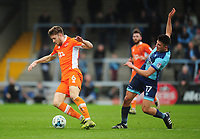 Blackpool's Will Aimson is fouled by Wycombe Wanderers' Luke O'Nien<br /> <br /> Photographer Kevin Barnes/CameraSport<br /> <br /> The EFL Sky Bet League Two - Wycombe Wanderers v Blackpool - Saturday 11th March 2017 - Adams Park - Wycombe<br /> <br /> World Copyright &copy; 2017 CameraSport. All rights reserved. 43 Linden Ave. Countesthorpe. Leicester. England. LE8 5PG - Tel: +44 (0) 116 277 4147 - admin@camerasport.com - www.camerasport.com