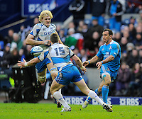 Stuart Hogg of Scotland intercepts a pass by Tobias Botes of Italy to run on and score a try - RBS 6 Nations - Scotland vs Italy -  Murrayfield Stadium - Edinburgh - 09/02/13 - Picture Simon Bellis/Sportimage .Edinburgo 9/2/2013 .Rugby 6Trofeo 6 Nazioni.Scozia Italia.Foto Insidefoto ITALY ONLY