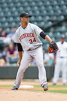 Frederick Keys starting pitcher Branden Kline (34) in action against the Winston-Salem Dash at BB&T Ballpark on May 18, 2014 in Winston-Salem, North Carolina.  The Dash defeated the Keys 7-6.  (Brian Westerholt/Four Seam Images)