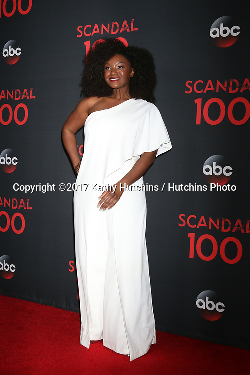 """LOS ANGELES - APR 8:  Saycon Sengbloh at the """"Scandal"""" 100th Show Party at Fig & Olive Resturant on April 8, 2017 in West Hollywood, CA"""