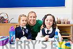 Teacher  Edel O'Sullivan with Yvie Ross and Lauren Heavey  Junior Infant Class at Blennerville NS.