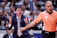 FC Barcelona Regal's coach Xavi Pascual have words with the referee during Liga Endesa ACB match.January 13,2012. (ALTERPHOTOS/Acero)