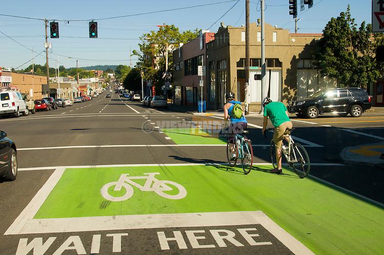 Bicyclist on SE Hawthorne Street, Portland, Oregon