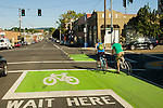 Bicyclist on SE Hawthorne Street, Portland, Oregon