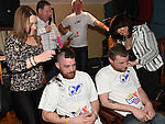 Mark Shields and Roy Carolan have their heads shaved by Shauna McDonnell and Maria Galligan to raise funds for the Gary Kelly Cancer Support Centre in the Boyne Valley Inn Slane. Photo:Colin Bell/pressphotos.ie