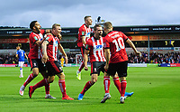 Lincoln City's Harry Anderson, second in from left, celebrates scoring the opening goal with team-mates, from left, Bruno Andrade, Joe Morrell, Harry Toffolo and Jack Payne<br /> <br /> Photographer Chris Vaughan/CameraSport<br /> <br /> The Carabao Cup Second Round - Lincoln City v Everton - Wednesday 28th August 2019 - Sincil Bank - Lincoln<br />  <br /> World Copyright © 2019 CameraSport. All rights reserved. 43 Linden Ave. Countesthorpe. Leicester. England. LE8 5PG - Tel: +44 (0) 116 277 4147 - admin@camerasport.com - www.camerasport.com