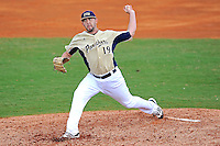 18 March 2012:  FIU pitcher R.J. Fondon (19) pitches early in the game as the Florida Atlantic University Owls defeated the FIU Golden Panthers, 9-3, at University Park in Miami, Florida.