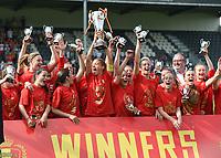 20180526 - Eupen , BELGIUM : Standard's team celebrating their victory pictured after the final of Belgian cup 2018 , a soccer women game between KRC Genk Ladies and Standard Femina de Liege  , in the  Kehrweg stadion in Eupen , saturday 26 th May 2018 . PHOTO SPORTPIX.BE   DIRK VUYLSTEKE