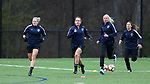 RALEIGH, NC - MARCH 13: Meredith Speck (center) leads a group of teammates as they run laps. The North Carolina Courage held their first ever training session on March 13, 2017, at WRAL Soccer Center in Raleigh, NC to start their preseason before the 2017 NWSL Season. Prior to its offseason relocation the team was known as the Western New York Flash.