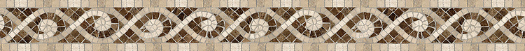 "4"" Tatiana border, a hand-cut stone mosaic, shown in polished Emperador Dark, honed Fontenay Claire, Saint Vincent, Saint Richard, and Ivory Cream."