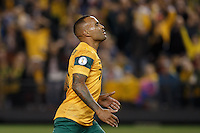 MELBOURNE, 11 JUNE 2013 - Archie THOMPSON of Australia reacts after missing a goal in a Round 4 FIFA 2014 World Cup qualifier match between Australia and Jordan at Etihad Stadium, Melbourne, Australia. Photo Sydney Low for Zumapress Inc. Please visit zumapress.com for editorial licensing. *This image is NOT FOR SALE via this web site.