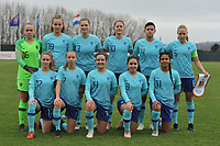 20190206 - TUBIZE , BELGIUM : Dutch team with Dana  Foederer (6)   Lisa Alhmeda (16)   Marit Auee (3)   Samantha van Diemen (4)   Ella Peddemors (7)   Ilham Abali (8)   Lotje de Keijzer (10)   Esmee Brugts (11)   Lobke Loonen (19)   Bodil van den Heuvel (14)   Kim Everaerts (17)   pictured during the friendly female soccer match between Women under 17 teams of  Belgium and The Netherlands , in Tubize , Belgium . Wednesday 6th February 2019 . PHOTO SPORTPIX.BE DIRK VUYLSTEKE