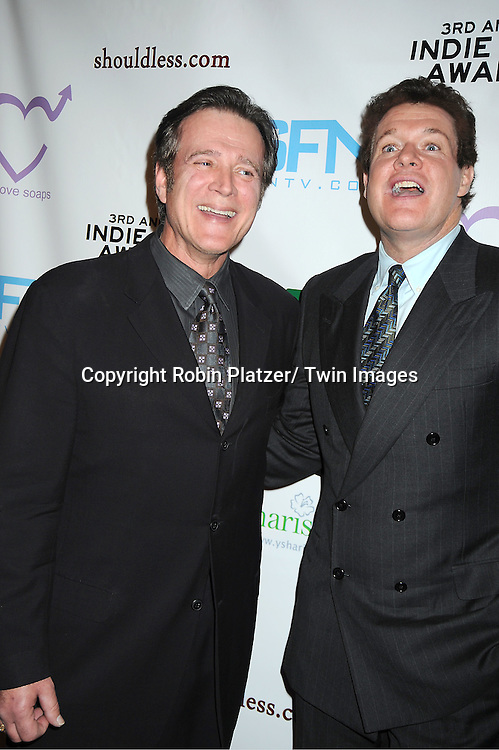 Frank Dicopoulos and Michael O' Leary posing for photographers at the 3rd Annual Indie Soap Awards on February 21, 2012 at New World Stages .in New York City.