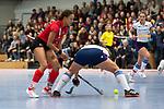 Mannheim, Germany, November 29: During the Bundesliga indoor women hockey match between Mannheimer HC and TSV Mannheim on November 29, 2019 at Irma-Roechling-Halle in Mannheim, Germany. Final score 4-4. Tara Duus #17 of Mannheimer HC<br /> <br /> Foto © PIX-Sportfotos *** Foto ist honorarpflichtig! *** Auf Anfrage in hoeherer Qualitaet/Aufloesung. Belegexemplar erbeten. Veroeffentlichung ausschliesslich fuer journalistisch-publizistische Zwecke. For editorial use only.