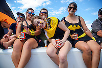 Fans watch the Super Rugby preseason match between the Hurricanes and Blues at Eketahuna, New Zealand on Saturday, 13 February 2016. Photo: Dave Lintott / lintottphoto.co.nz