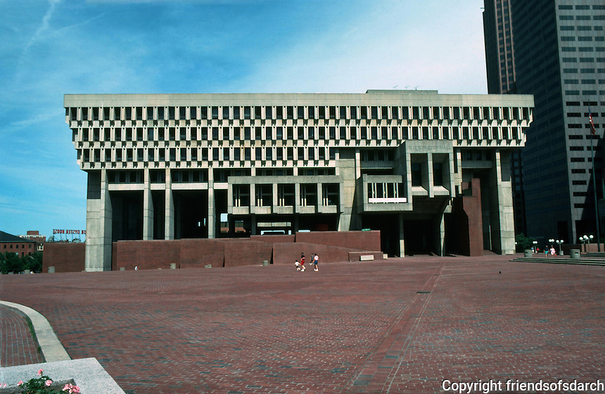 Boston:  City Hall, Plaza, and New England Merchants Bank 1969. It is a modern skyscraper with 40 floors. Emory Roth & Sons.  Photo '91.