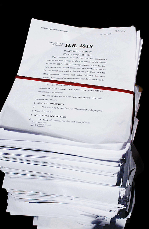 11/24/04.OMNIBUS BILL--A copy of the 3,600-page spending bill in the House Radio/TV studio..CONGRESSIONAL QUARTERLY PHOTO BY SCOTT J. FERRELL