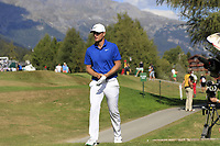 Lucas Bjerregaard (DEN) walks to the 18th tee during Sunday's Final Round 4 of the 2018 Omega European Masters, held at the Golf Club Crans-Sur-Sierre, Crans Montana, Switzerland. 9th September 2018.<br /> Picture: Eoin Clarke | Golffile<br /> <br /> <br /> All photos usage must carry mandatory copyright credit (© Golffile | Eoin Clarke)