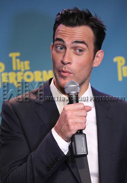 """Actor Cheyenne Jackson attends press event to introduce the cast and creators of the new Broadway play """"The Performers""""at the Hard Rock Cafe on Tuesday, Sept. 25, 2012 in New York. (Photo by © Walter McBride/WM Photography//AP)"""
