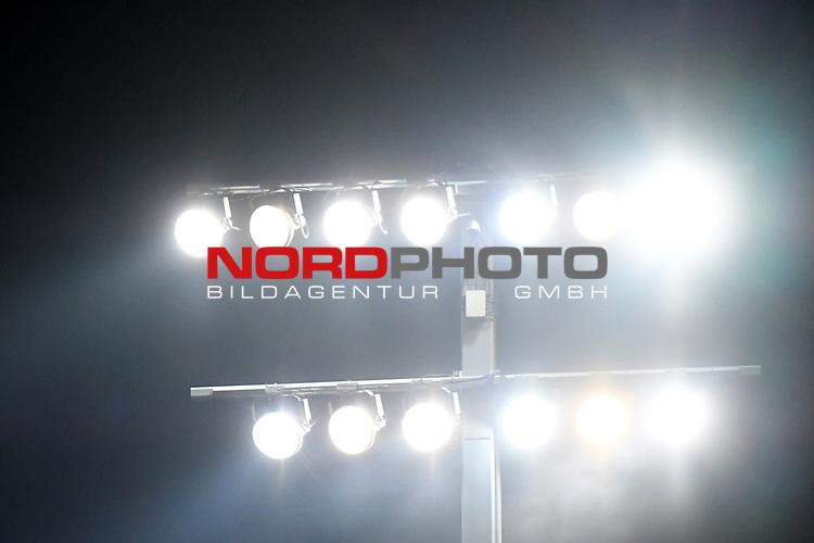 14.02.2020, Preußenstadion, Münster, GER, 3.FBL, SC Preussen Muenster vs. FC Wuerzburger Kickers, <br /> <br /> DFL REGULATIONS PROHIBIT ANY USE OF PHOTOGRAPHS AS IMAGE SEQUENCES AND/OR QUASI-VIDEO<br /> <br /> im Bild<br /> Flutlicht im Preußenstadion. Feature / Symbol / Symbolfoto / charakteristisch / Detail<br /> <br /> Foto © nordphoto / Paetzel