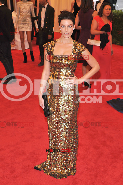 Jessica Pare at the 'Schiaparelli And Prada: Impossible Conversations' Costume Institute Gala at the Metropolitan Museum of Art on May 7, 2012 in New York City. © mpi03/MediaPunch Inc.