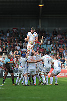 Geoff Parling of Exeter Chiefs wins a lineout during the Aviva Premiership match between Harlequins and Exeter Chiefs at The Twickenham Stoop on Saturday 7th May 2016 (Photo: Rob Munro/Stewart Communications)