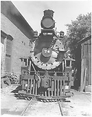 RGS 2-8-0 #74 head-on beside the Ridgway roundhouse.<br /> RGS  Ridgway, CO  Taken by Beck, John G. - 8/31/1951