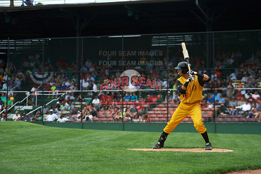 Jacksonville Suns first baseman Viosergy Rosa (44) on deck during the 20th Annual Rickwood Classic Game against the Birmingham Barons on May 27, 2015 at Rickwood Field in Birmingham, Alabama.  Jacksonville defeated Birmingham by the score of 8-2 at the countries oldest ballpark, Rickwood opened in 1910 and has been most notably the home of the Birmingham Barons of the Southern League and Birmingham Black Barons of the Negro League.  (Mike Janes/Four Seam Images)