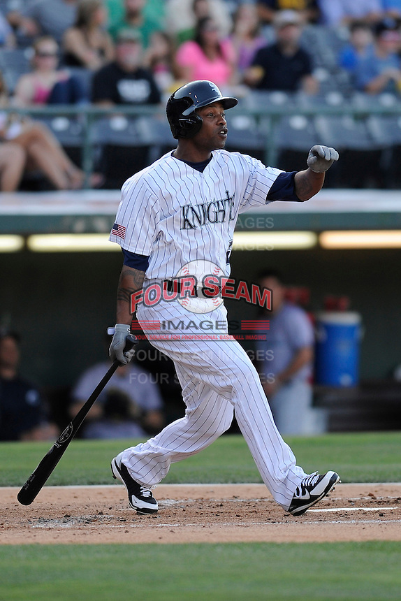Center fielder Dewayne Wise (28) of the Charlotte Knights bats in a game against the Columbus Clippers on Saturday, June 15, 2013, at Knights Stadium in Fort Mill, South Carolina. Columbus won, 4-2. (Tom Priddy/Four Seam Images)