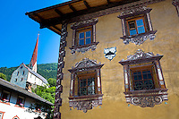 Gasthof Stern hotel and church in Kirchweg in the old part of the town of Oetz in the Tyrol, Austria