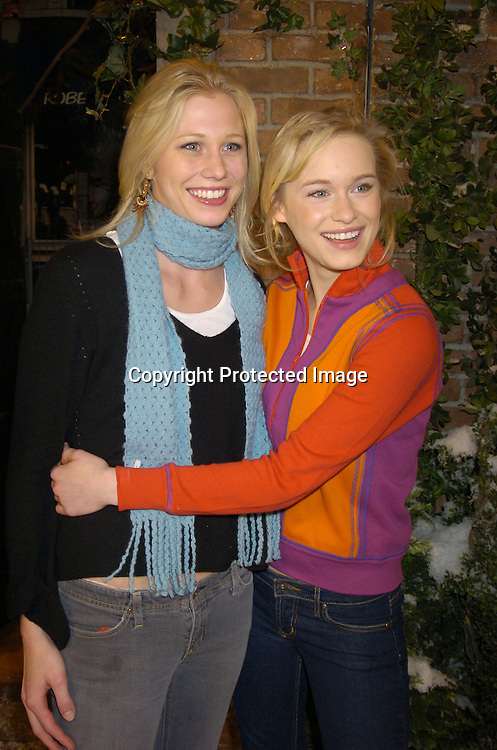 "Mary and her sister Leven Rambin ..at the All My Children set to unveil the ""All My Children Way"" street sign in celebration of the 35th Anniversary of the show. Katherine Oliver, Commissioner of the Mayor's Office of Film, Theatre and Broadcasting presented the ..sign. ..Photo by Robin Platzer, Twin Images"