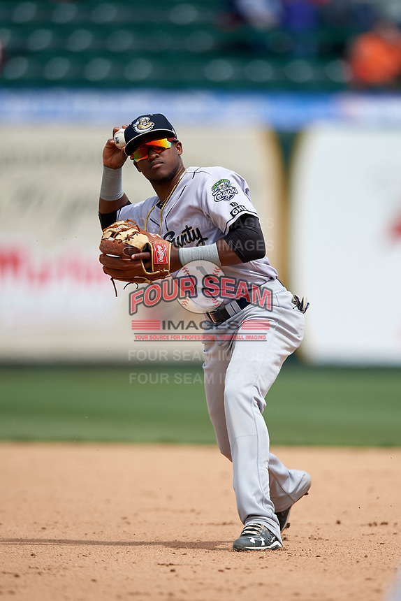 Kane County Cougars second baseman Luis Alejandro Basabe (1) throws to first base during a game against the South Bend Cubs on May 3, 2017 at Four Winds Field in South Bend, Indiana.  South Bend defeated Kane County 6-2.  (Mike Janes/Four Seam Images)