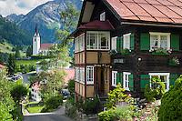 Austria, Vorarlberg, Kleinwalsertal, Hirschegg: village centre with catholic church Saint Anne | Oesterreich, Vorarlberg, Kleinwalsertal, Hirschegg: Ortszentrum mit katholischer St. Anna Kirche