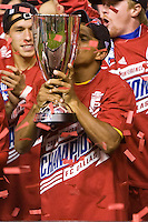 2010 MLS MVP David Ferreira of FC Dallas holds up the MLS Western Conference Championship trophy. FC Dallas defeated the LA Galaxy 3-0 to win the Western Division 2010 MLS Championship at Home Depot Center stadium in Carson, California on Sunday November 14, 2010.