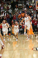 22 December 2007: Stanford Cardinal Kayla Pedersen (14), Rosalyn Gold-Onwude (21), and Jayne Appel (2) during Stanford's 73-69 overtime win against the Tennessee Lady Volunteers at Maples Pavilion in Stanford, CA.