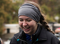 NWA Democrat-Gazette/CHARLIE KAIJO First place varsity girls winner, Haas Hall senior Cate Mertins, reacts with friends after a bike race, Sunday, November 4, 2018 at Lake Leatherwood MTB Park in Eureka Springs.<br />