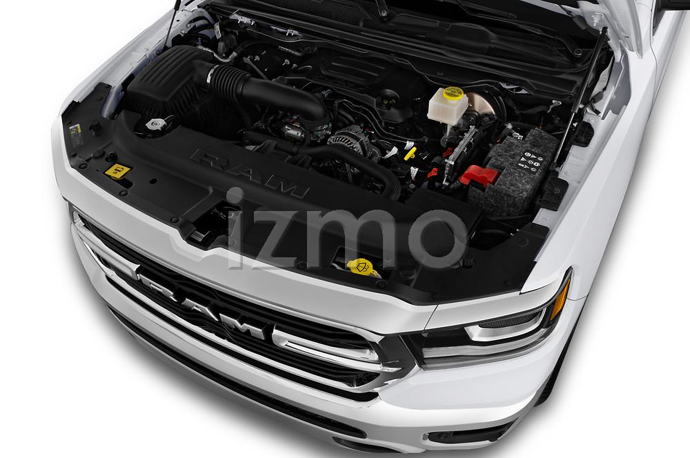Car stock 2019 Ram Ram 1500 Pickup Big Horn Crew Cab SWB 4 Door Pick Up engine high angle detail view