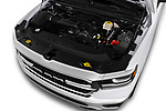 Car stock 2019 Ram Ram 1500 Pickup Big Horn Crew Cab SWB 4 Door Pick Up engine high angle detail view