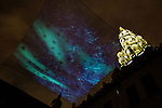BRUSSELS - BELGIUM - 02 December 2018 -- Christmas light-show on Grand Place. The Northern region of Finland, Kainuu offers as well a video projection of the Aurora Borealis in the courtyard of the Brussels city hall on the Grand Place. -- PHOTO: Juha ROININEN / EUP-IMAGES