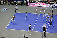 14 December 2006: Stanford Cardinal Foluke Akinradewo, Jessica Fishburn, Cynthia Barboza, Kristin Richards, Bryn Kehoe, and Nji Nnamani during Stanford's 30-12, 30-25, 30-15 win against the Washington Huskies in the 2006 NCAA Division I Women's Volleyball Final Four semifinal match at the Qwest Center in Omaha, NE.