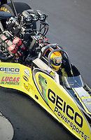 Sept. 17, 2010; Concord, NC, USA; NHRA top fuel dragster driver Morgan Lucas sits strapped into his car during qualifying for the O'Reilly Auto Parts NHRA Nationals at zMax Dragway. Mandatory Credit: Mark J. Rebilas/